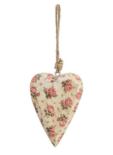 Vitale Çiçek Desenli Kalp Küçük Boy Krem
